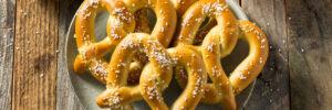 homemade soft pretzels on plate